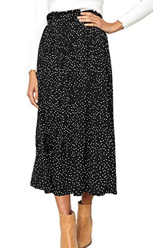 RichCoco Women's Casual High Elastic Waist A Line Print Pleated Pockets Vintage Dresses Polka Dot Midi Skirts (Black, XXL)