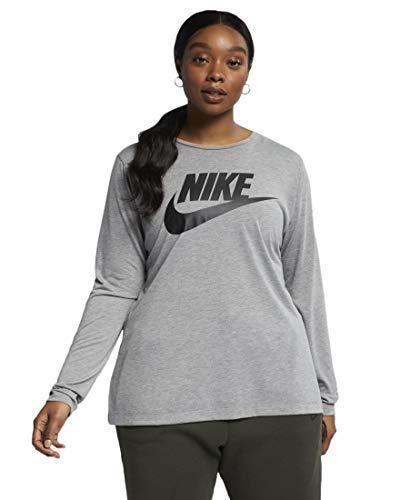 Nike Women's Plus Size Logo Print Long Sleeve Athletic T-Shirt (Carbon Heather/Black, 3X)