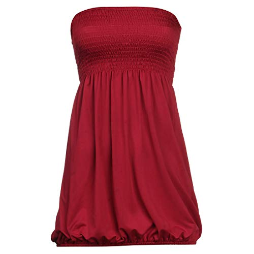 Women Sleeveless Tube Top Strapless Blouse Pleated Tunic Tanks Tops (Red,S)
