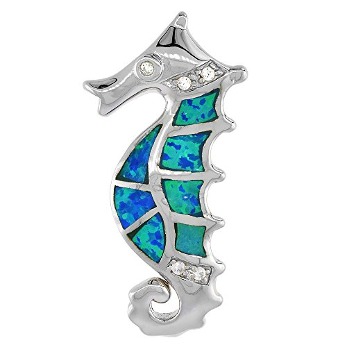 Sterling Silver Synthetic Opal Seahorse Necklace for Women with CZ Stones 1 1 4 inch