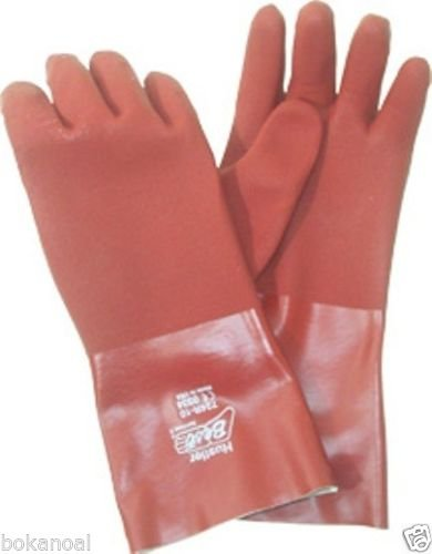 1 Pair of Best BST 724R-10 size LARGE, PVC NITRILE Coated 14'' Industrial Glove
