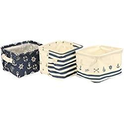 Foldable Cotton Blend Linen Storage Bins With Handles Navy Blue Anchor  Nusery Storage Baskets Waterproof Toy