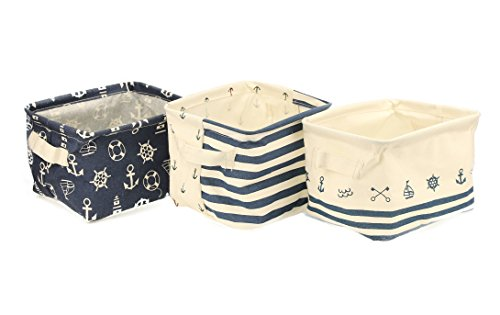 Orino Waterproof Nursery Nautical Fabric Small Storage Baskets Beach Anchor Theme Collapsible Portable Storage Bins with Handle for Cloth, Toys, Books, Sundries, Set of 3