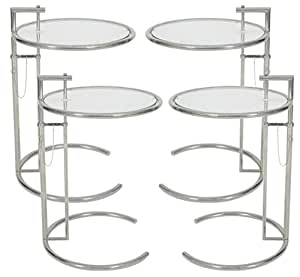 MLF Eileen Gray End Table (Set of 1/2/3/4). Adjustable Height Table, Safe Tempered Circle Leveled Glass Top, Stainless Steel Tubular Frame for Firm & Durability, Metal Side Table. Easy to Move, Perfect Combination of Functionality and Style. (Set of 4)