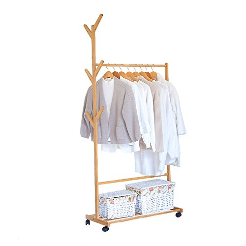 limam Multifuctional Bamboo Garment Laundry Rack with Shoe Clothes Storage Shelves Display Stand Hall Tree Removable-style Coat Rack (60x38x176cm) …