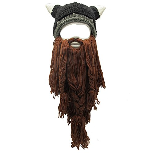 Flyou Wig Beard Hats Handmade Knit Warm Winter Caps Ski Funny Mask Beanie For Men Women (CNJ-Coffee)