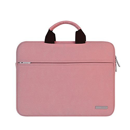 Laptop Case, Laptop Handbag, Simplicity Slim Briefcase Commuter Bag Business Sleeve Carrying Handle Bag Suede Leather Waterproof Notebook Shoulder Messenger Bag (13.3, (Pink Leather Briefcase)
