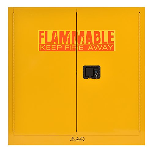 Flammable Liquids Safety Storage - Sandusky Lee SC300F Yellow Steel Safety Cabinet for Flammable Liquids, 1 Shelf, 2 Door Manual Close, 30 Gallon Capacity, 44