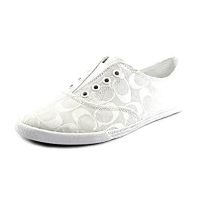 Coach Katie Womens Size 9.5 Ivory Canvas Sneakers Shoes