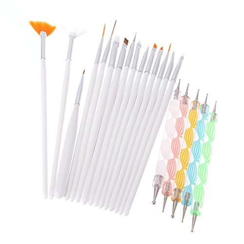 Yimart 20PCS Nail Art Design Dotting Painting Drawing Polish Brush Pen Tools (Design Brush)