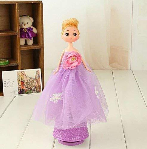 MON5F Home Lila Hochzeitskleid Puppe Braut spinnt Spieluhr mit Musik für Mädchen Spielzeug Interessantes Spielzeug