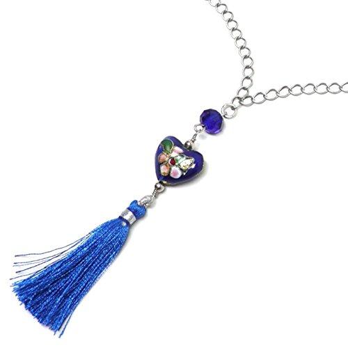 Chinese Cloisonne Enamel Heart Blue Tassel Chain Necklace OOAK