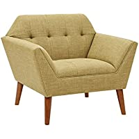 Mid Century Modern Upholstery Button Tufted Accent Chair with Dowel Wood Legs - Includes Modhaus Living Pen (Yellow)