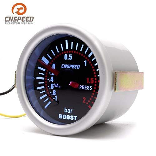 1~2 BAR Gauge Press Pressure Gauge Pointer Meter Smoke Len LED CNSPEED YC101310 Digital Universal 52mm Car Turbo Boost Vacuum