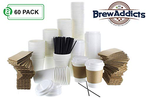 JUMBO Pack White Coffee Cups | White Insulated Disposable Hot Cups with Lids, Sleeves & Stirrers for Tea, Chocolate | Perfect for To-Go Travel Mug, Parties and More | Size 12 Ounce | 60 Count -
