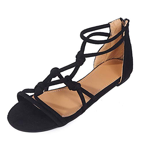 Thenxin Women's Summer Ankle Strap Flat Sandals Ladies Casual Beach Roman Shoes (Black,6.5 US)