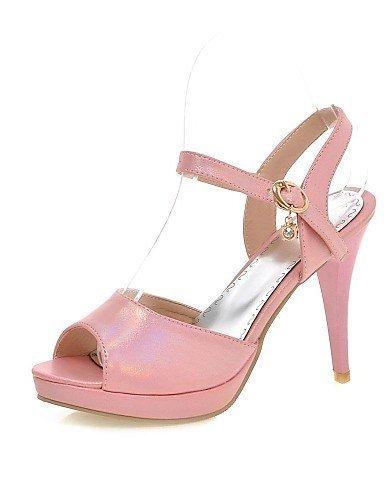 ShangYi Womens Shoes Rubber Stiletto Heel Heels / Comfort / Open Toe Sandals Office & Career / Dress Blue / Pink / White Blue