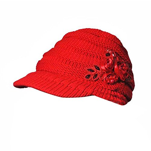 URIBAKE ❤ Women's Fashion Knitted Cap Peaked Floral