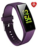 goopow Fitness Tracker, Activity Tracker Watch with Heart Rate Monitor, Waterproof Smart Fitness Band with Step Counter, Calorie Counter, Pedometer Watch Kids Women and Men (Purple)