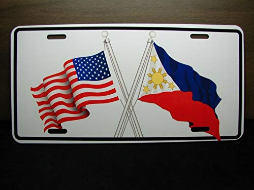 Yilooom Waving Philippines American Cross Flag Metal Car License Plate Filipino Flag Auto Car Novelty Accessories License Plate Art ()