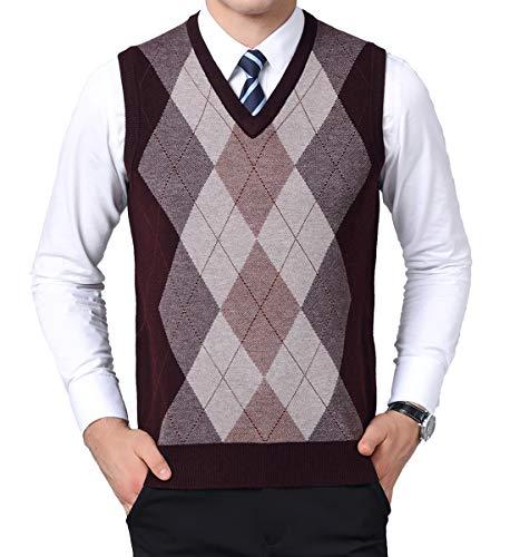 (Kinlonsair Mens Casual Slim Fit Solid Lightweight V-Neck Sweater Vest (Large (US), 10_Red))