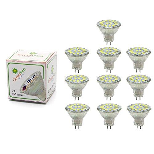 GreenSun 3W MR11 GU4 LED Ampoule Spot Lampe 15 x 5733 SMDs Bulb Blanc Froid AC/DC 12-30V 240 Lumen 6000K Non Dimmable Pack de 10 Unités