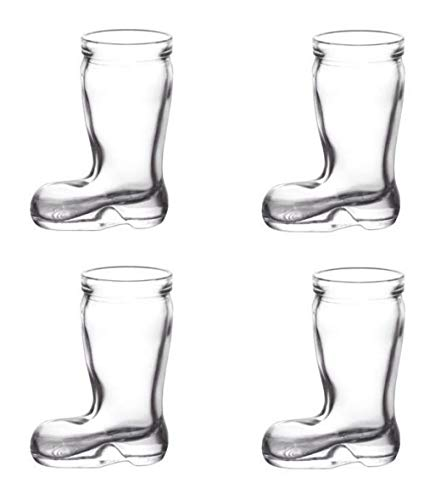 Mini Shot Clear Glasses Set of 4 - 1.5 Ounce Boot shaped tumbler - Funny glass bowls - Ideal for Whiskey, Liquor, Scotch, Vodka - Durable Entertainment Glassware Barware - Bachelor Party Birthday Gift -