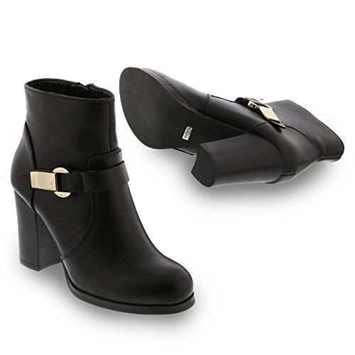 Buffalo - Botas de Piel para mujer negro negro