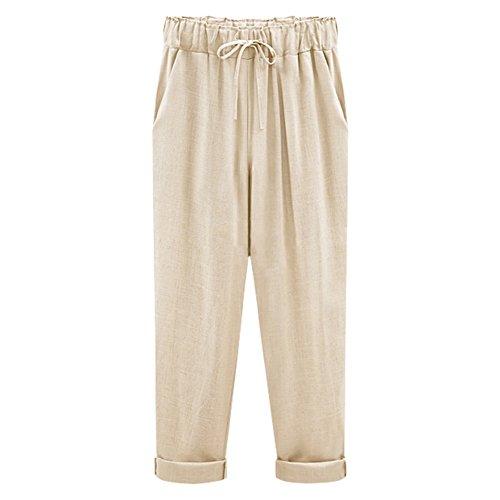 Linen Pant Career (XinDao Women's Elastic Waist Casual Relaxed Fit Capris Pants Drawstring Cotton Linen Cropped Pants Khaki US M/Asia 3XL)