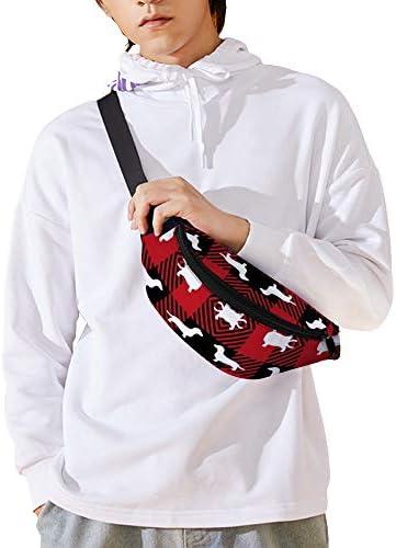 ダックスフンドバッファロープラッド ウエストバッグ ショルダーバッグチェストバッグ ヒップバッグ 多機能 防水 軽量 スポーツアウトドアクロスボディバッグユニセックスピクニック小旅行
