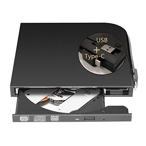 External DVD Drive Burner Player for Laptop USB3.0 Type-C Dual interfaces Portable Slim Automatic Slot-Loading CD/DVD-RAM Superdrive +/- RW Reader with High Speed Data for PC Windows Mac OS