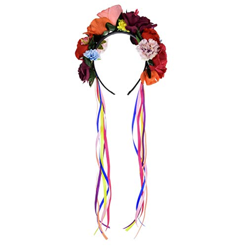 DreamLily Dia de Los Muertos Day of The Dead Headpiece Frida Kahlo Mexican Flower Crown Ribbon Headband Party Costume NC22 (Mexican Crown Ribbon) -