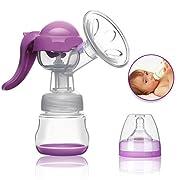 NOKIRE Manual Breast Pump - Silicone Hand Pump Breastfeeding Food Grade BPA-Free Milk Breastpump with Lid - Portable Milk Collector for Baby Breast Feeding