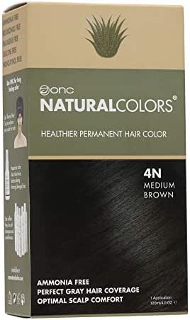 ONC NATURALCOLORS 4N Natural Medium Brown Healthier Permanent Hair Color Dye 4 fl. oz. (120 mL) with Certified Organic Ingredients, Ammonia-free, Resorcinol-free, Paraben-free, Low pH, Salon Quality,