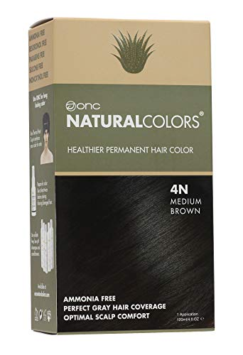 ONC NATURALCOLORS Healthier Permanent Hair Color, Certified Organic Salon Quality Hair Dye, Ammonia-free, Resorcinol-free, Paraben-free, Low pH, Best Hair Coloring (4N Natural Medium Brown)