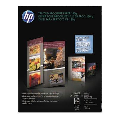 (HP : Inkjet Tri-Fold Brochure Paper, Letter, Bright White Gloss, 100 per Pack -:- Sold as 1 PK)