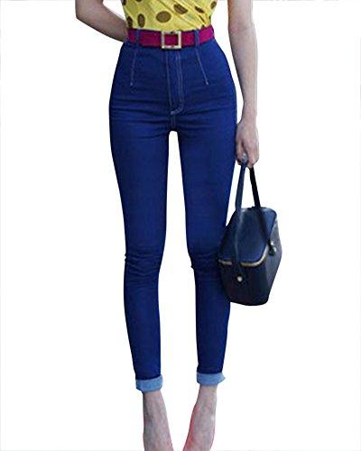 Femmes Slim Fit Skinny Stretch Jeans Serr Taille Haute Denim Jeans Bleu Fonc