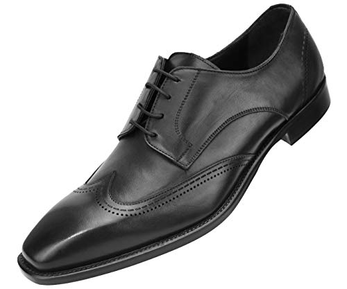Asher Green Genuine Italian Leather Men's Dress Shoes with Classic Wing Tip and Burnishing Style AG4721 Black