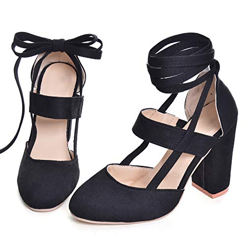 Women High Heel Sandals Closed Toe Pumps Square Heel Shoes Women