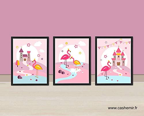 Illustration Chambre Enfant Affiche Bebe Flamant Rose Decoration