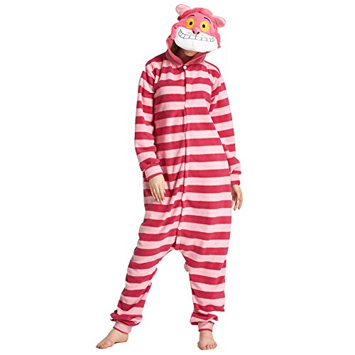 Cat Costume Easy (Chorade Cheshire Cat Onesie Costume Unisex Adult Animals Cheshire Cat Pajamas Cosplay)