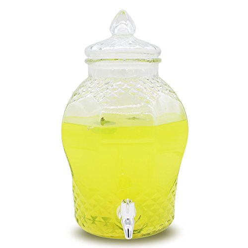 Glass Beverage Dispenser Diamond Cut with Spigot,1.6 Gallon/