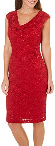 - Connected Apparel Women's Lace Sequined Sheath Dress Red 14