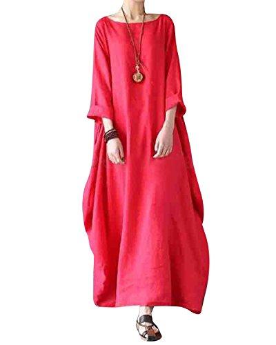 (Jacansi Women Plus Size Batwing Sleeve Cotton Linen Loose Pure Solor Long Dress Melon 2XL)