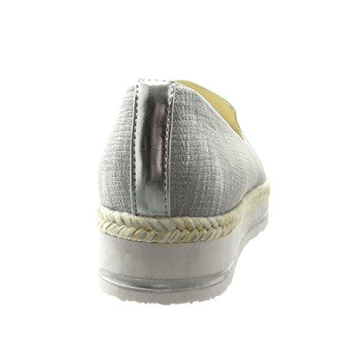 Angkorly - Chaussure Mode Espadrille Mocassin bi-matière slip-on femme peau de serpent corde tréssé Talon compensé plateforme 3.5 CM - Argent