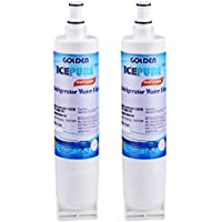 Golden IcePure Premium Refrigerator Replacement Water Filter, compatible with Whirlpool PUR 4396508, 4396510 for Kitchenaid Maytag Whirlpool Side By Side Refrigerator (2 pack)