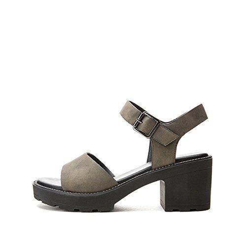 Sandali DHG estivi piatti con casual da tacco verde Pantofole Sandali alti basso 34 a tacco alla Sandali basso donna moda Tacchi Fddxrwq