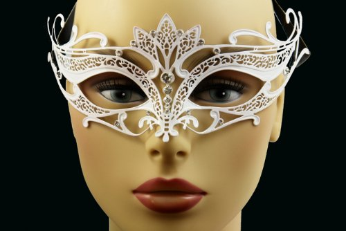 Laser Cut Venetian Halloween Masquerade Mask Costume Extravagantly Simple Inspire Design - White w/ Rhinestones by KBMasks