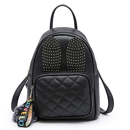 Girls Rabbit Ear Cute Mini Leather Backpack, XB Small Backpack Purse for Women Fashion Shoulder Bag (Black) by XB HANDBAG