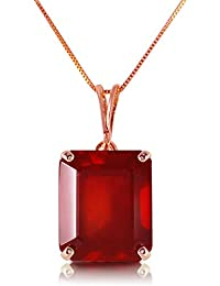 6.5 CTW 14K Solid White Rose Yellow Gold Necklace Emerald Cut Natural Ruby